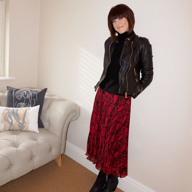 My Midlife Fashion, zara leather biker jacket, marks and spencer pure cashmere polo neck jumper, new look midi pleated snakeprint skirt, ash jess suede ankle boots