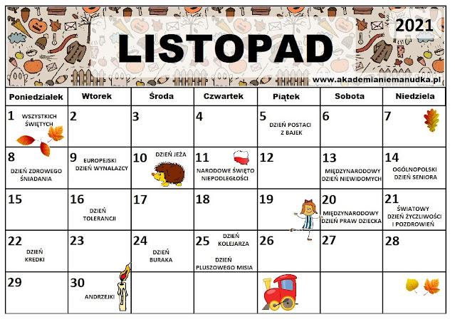 Kalendarz świąt nietypowych dla dzieci na rok szkolny 2021/2022 listopad