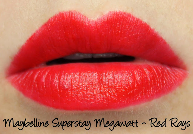 Maybelline Superstay Megawatt Lipstick - Red Rays Swatches & Review