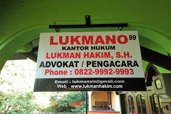 LUKMANO 99 - Papan Nama Kantor Advokat / Pengacara Lukman Hakim Jasa Layanan Hukum Lawyer Profesional Indonesia Nusantara