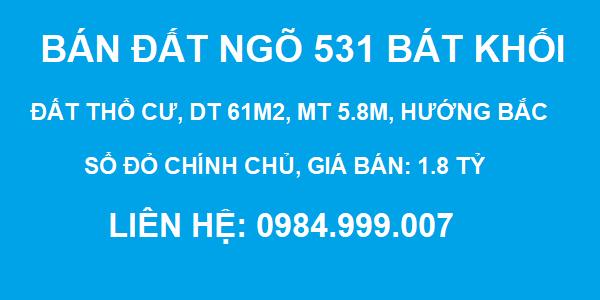 Bán đất Ngõ 531 Bát Khối, Thạch Bàn, DT 61m2, MT 5.8m, SĐCC, giá 1.8 tỷ, 2020