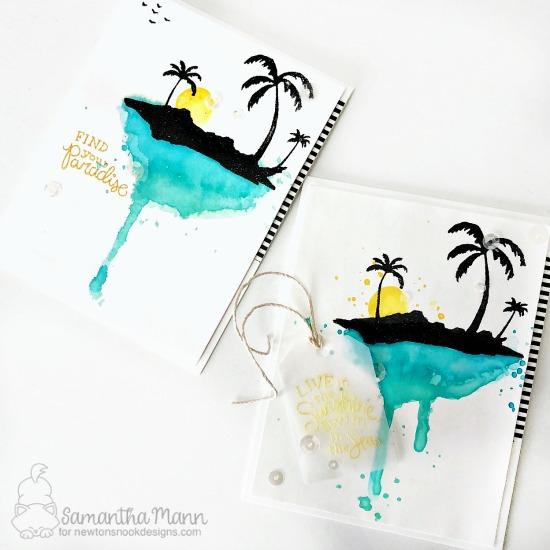 Watercolor Beach Card by Samantha Mann | Paradise Palms Stamp Set by Newton's Nook Designs #newtonsnook #handmade