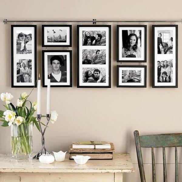 Composition of black photo frame frames