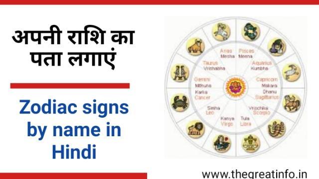 Zodiac sign in Hindi by name - राशि चिन्ह और राशि के नाम