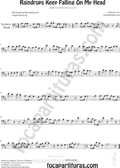 Trombón, Tuba Elicón y Bombardino Partitura de Raindrops Keep Falling on my Head Sheet Music for Trombone, Tube, Euphonium Music Scores (tuba en 8ª baja)