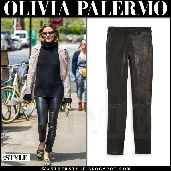 Olivia Palermo in black leather j brand edita pants, black tibi sweater and beige trench coat what she wore streetstyle