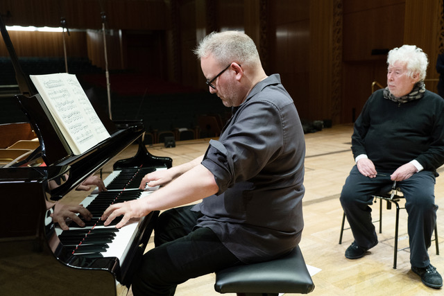 Nicolas Hodges and Sir Harrison Birtwistle at the recording session for A Bag of Bagatelles