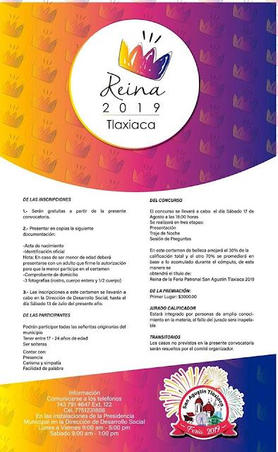 Convocatoria reina feria tlaxiaca 2019