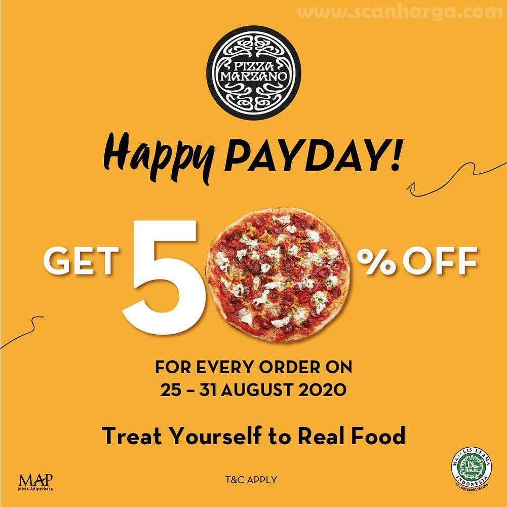 Promo Pizza Marzano Payday Get 50% Off* 25 - 31 August 2020