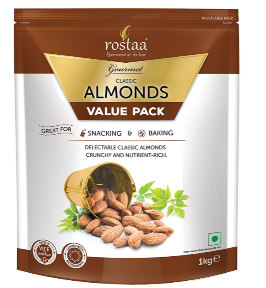 Rostaa Premium Classic California Almonds Value Pack, 1000 g (Gluten Free, Non-GM
