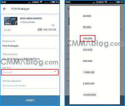 cara beli token di m banking mandiri online