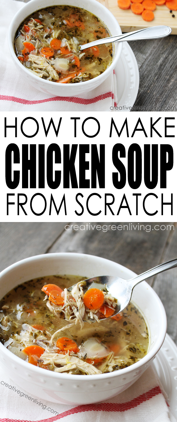 Learn how to make easy homemade chicken soup from scratch in your crockpot or slow cooker with a whole chicken. This healthy recipe is keto freindly, gluten free, paleo and Whole30 compliant. It's really the very best chicken soup recipe I have ever had and it's such a classic recipe to make for colds when someone in your family is sick. #creativegreenliving #chickensoup #paleo #glutenfree #keto #whole30 #chickenrecipes #recipe #healthyfood #fromscratch