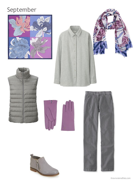 a fall and winter outfit in grey with orchid accents