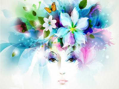mariposas, ilustración, colores, cara, rostro mujer