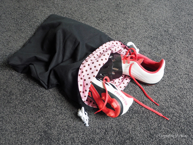 Make a drawstring bag to hold soccer boots ~ Threading My Way