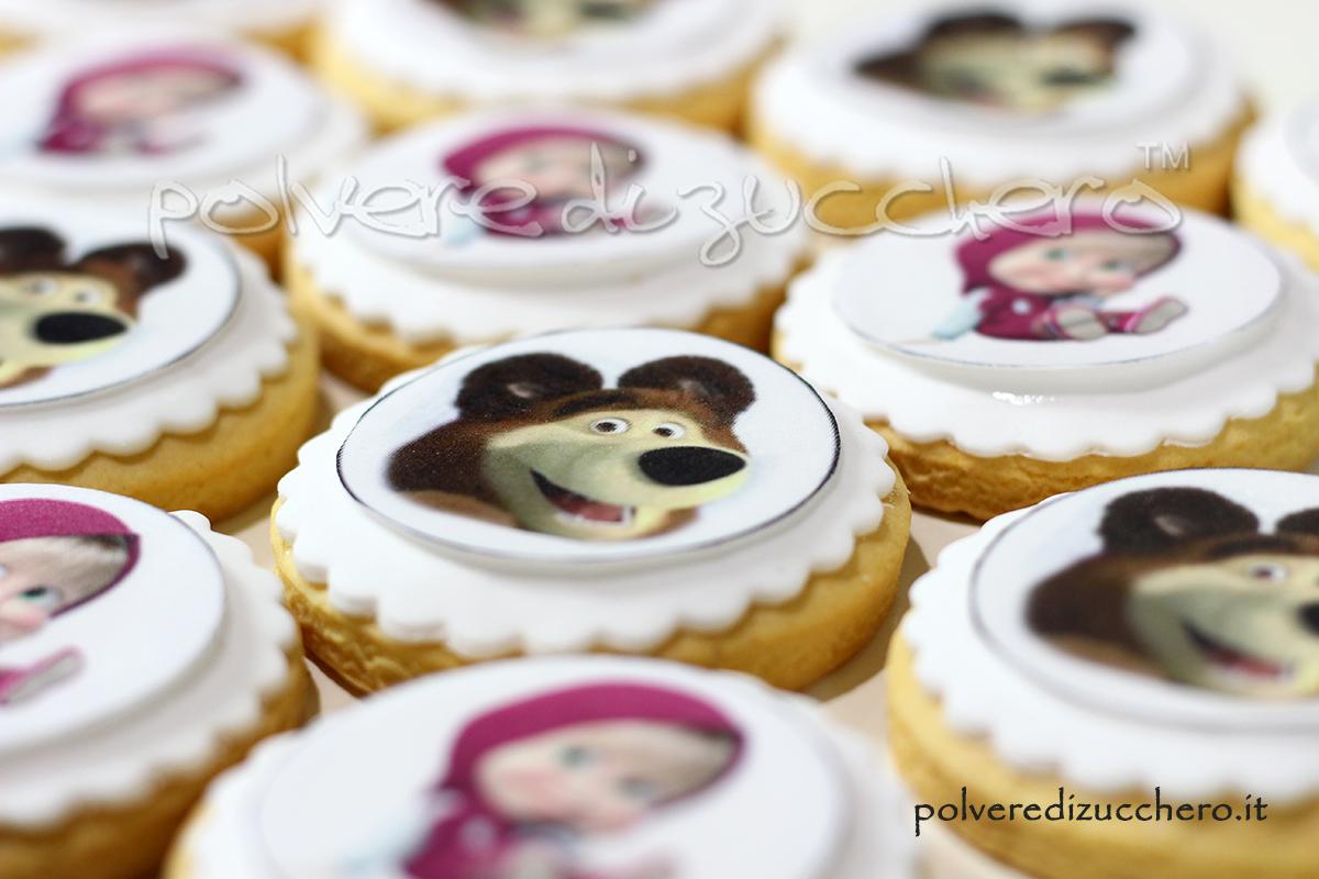 biscotti decorati cake design pasta di zucchero cialda alimentare wafer paper polvere di zucchero masha e orso compleanno bambina
