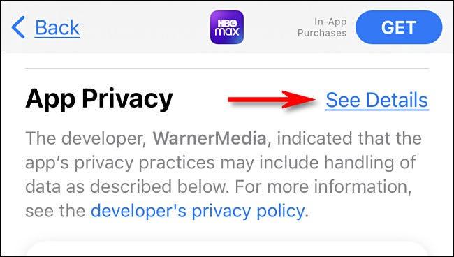 """في iTunes App Store ، انقر فوق """"الاطلاع على التفاصيل"""" للاطلاع على مزيد من التفاصيل حول معلومات خصوصية التطبيق."""