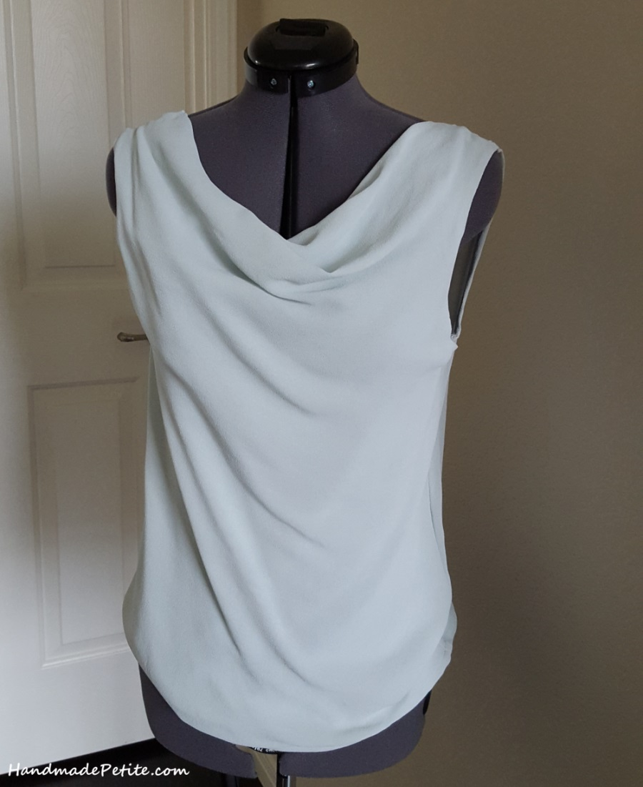 Sewing handmade light blue silk georgette shell blouse with cowl neck