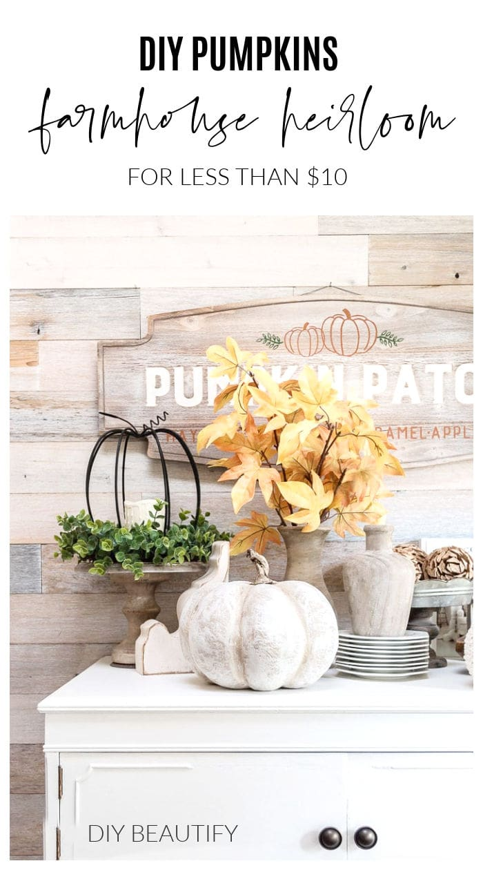 Fall farmhouse vignette on white dresser with Cinderella heirloom pumpkins and fall leaves