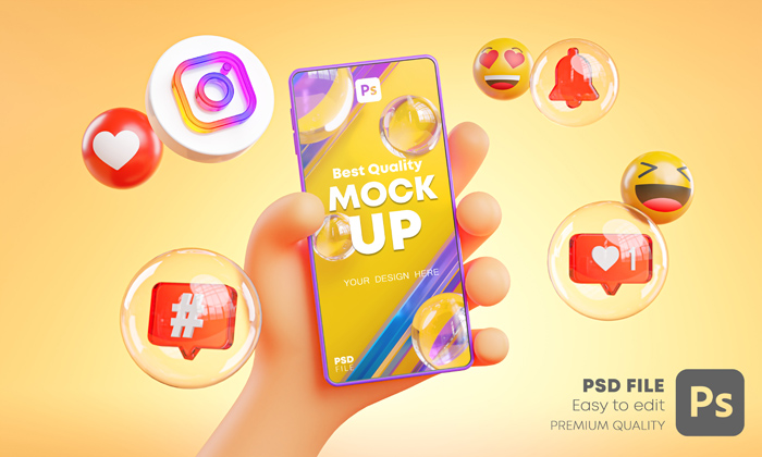 3D Hand Holding Mobile Around Instagram Icons Mockup