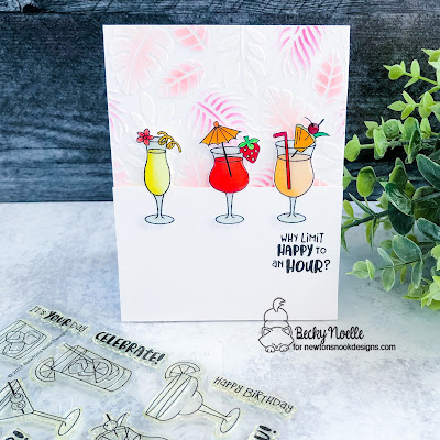 Why limit happy to an hour? by Becky features Cocktail Mixer and Tropical Leaves by Newton's Nook Designs; #newtonsnook