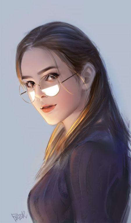 Peter Xiao artstation arte ilustrações pinturas digitais retratos femininos beleza mulheres de óculos