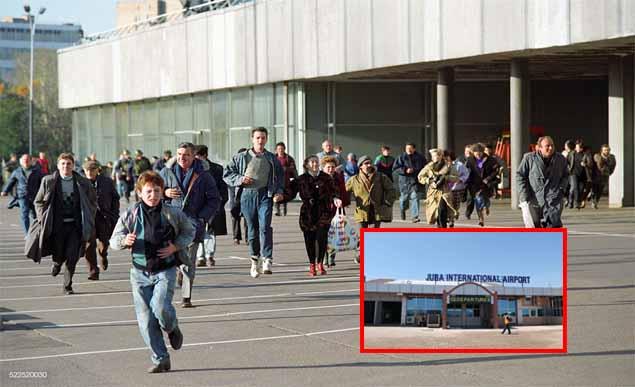 Group of people running away from Juba international Airport because of Coronavirus