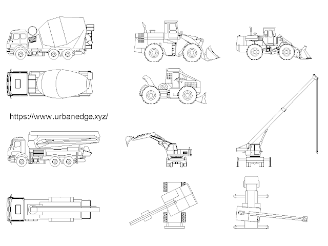 Construction machines cad models and blocks