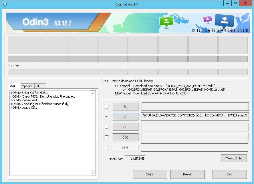 Odin3 : flasher la ROM sur GALAXY TAB3 SM-T210