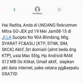 Sms undangan dari tim Gojek Palu