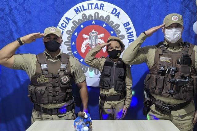 Criança comemora aniversário com tema da Polícia Militar em Ituaçu