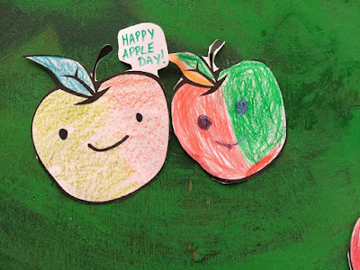 Coloured in apple shapes