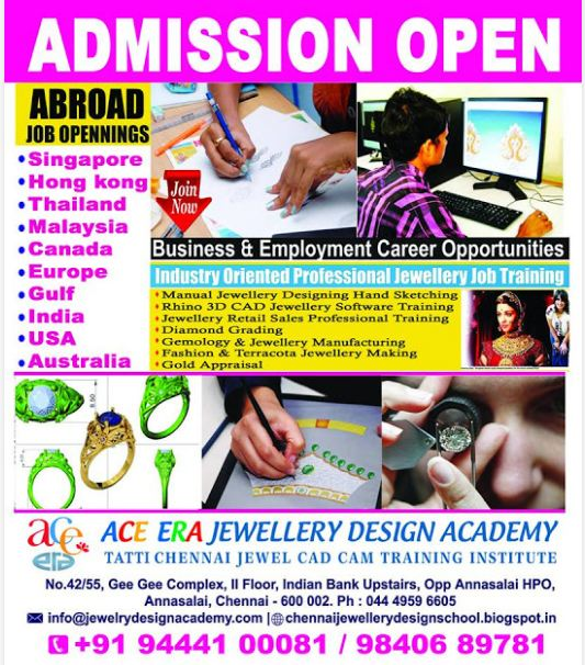 Chennai Online Jewellery 3d Cad Design Training Institute Courses Weekend Classes Matrix Rhino Jewellery Graphic Designer Jobs Training