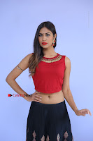 Telugu Actress Nishi Ganda Stills in Red Blouse and Black Skirt at Tik Tak Telugu Movie Audio Launch .COM 0027.JPG