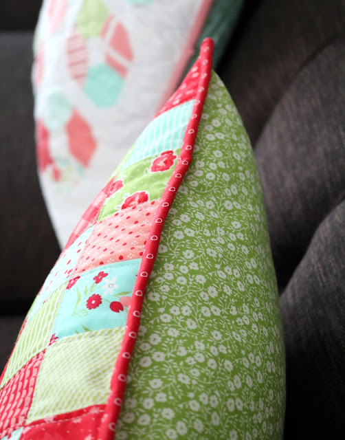 Christmas Patchwork Pillow tutorial by Andy of A Bright Corner - a fun and quick scrap fabric project