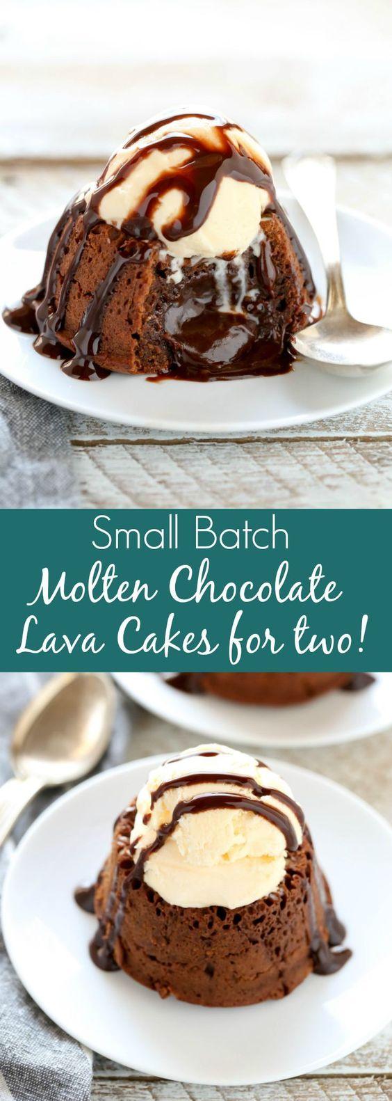 Molten Chocolate Lava Cakes For Two #cake #dessert
