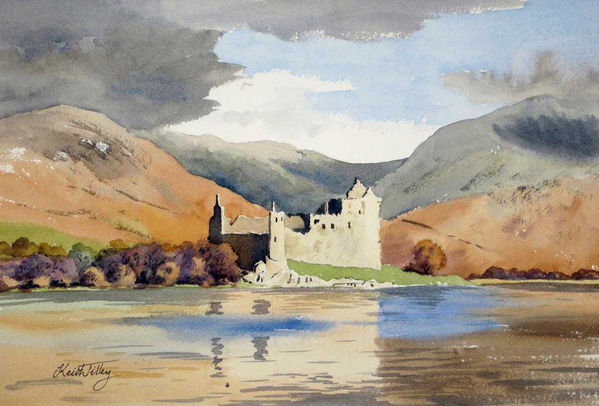 Kilchurn Castle, a stronghold of Clan Campbell. It stands at the head of Loch Awe, in Argyll, Scotland, and is a tourist attraction.