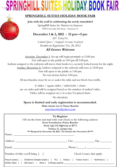 Florida Book News: Springhill Suites Holiday Book Fair - Call for