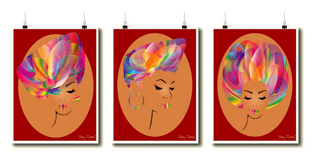 Afro-girl-art-set-print-by-yamy-morrell