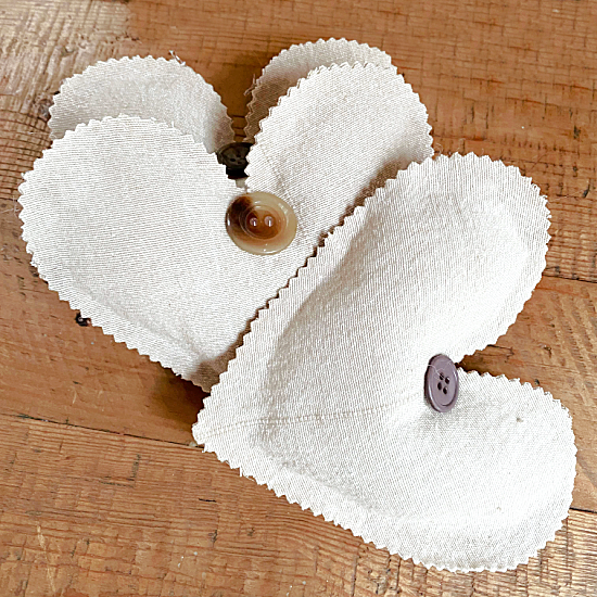 Muslin Heart Sachets for Valentine's Day