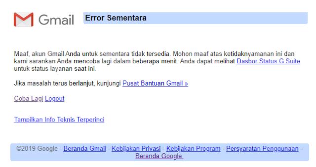 Akun Gmail Error sementara / tidak bisa dibuka