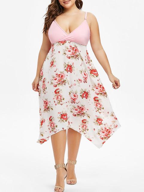 vestido rosa y blanco con estamapdo de flores