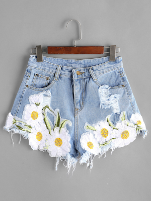 Short jeans bordado floral