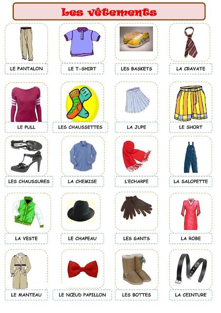 اسماء الملابس بالفرنسية