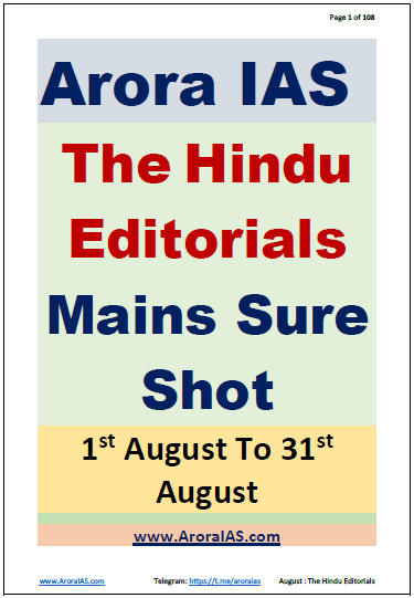 Arora IAS The Hindu Editorials Mains Sure Shot (August 2020) : For UPSC Exam PDF Book