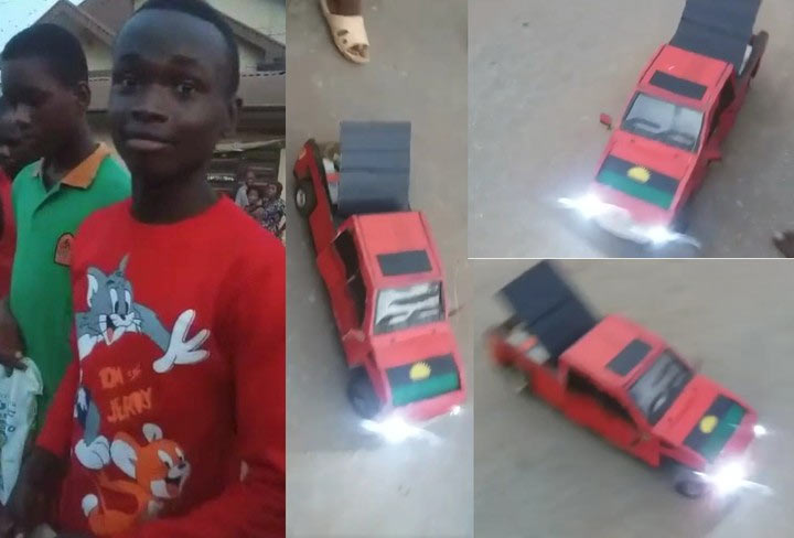 "16-year-old boy builds toy ""Biafra Toyota Tundra"" in Onitsha"