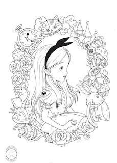 alicia en el pais de la maravillas y todos los personajes para colorear