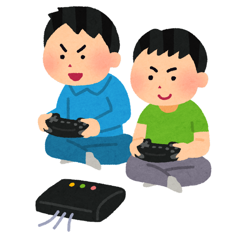 据置型ゲーム機で遊ぶ子供達のイラスト