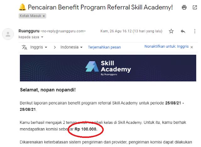 pencairan kode refferal skill academy