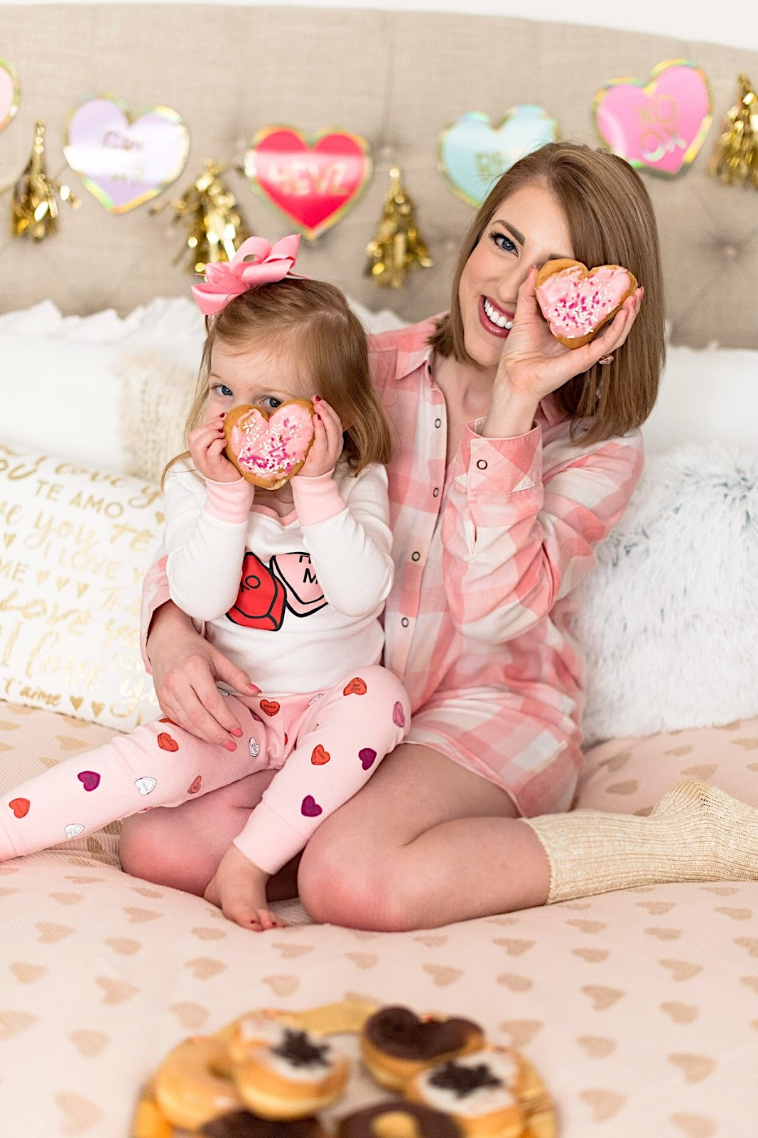 Mommy and Me Valentine Pajamas - Click through to see more on Something Delightful Blog